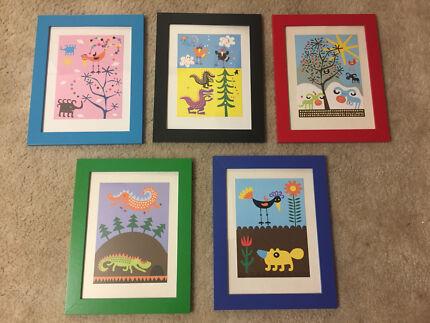 IKEA frames and kids prints x5