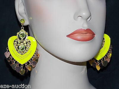 ENAMELED, RHINESTONE NEON YELLOW HEART CHANDELIER EARRINGS WHOLESALE PRICE  ()