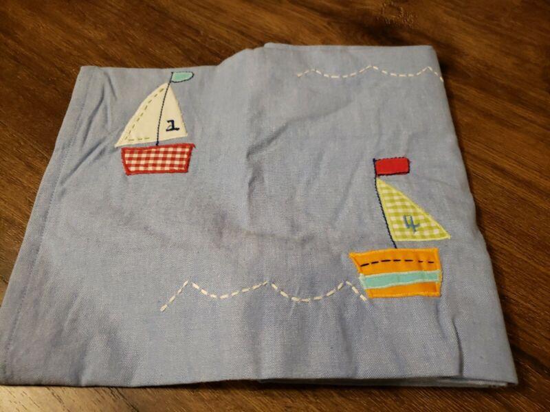 """Pottery Barn Kids Baby Boats Valance Pole Pocket 18""""x44"""" Nautical Sailboats"""