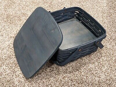 Longaberger Market Basket 12 x 12 x 6.5 double handles, liner, stand, and lid
