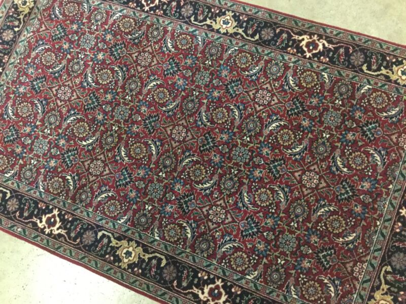 3 X 5 Red Navy Geometric Persian Oriental Area Rug Wool Hand Knotted Entrance