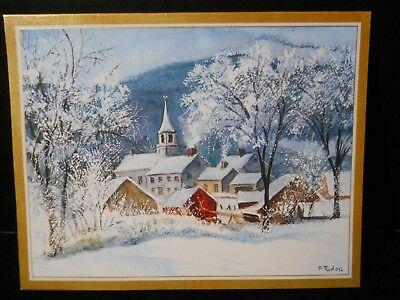 Tasha Tudor Caspari Christmas Card Village Church Snowy American Artists Group