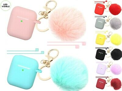 Cute Airpods Silicone Case Cover w/Fur Ball Keychain Strap for Apple Airpods 1/2