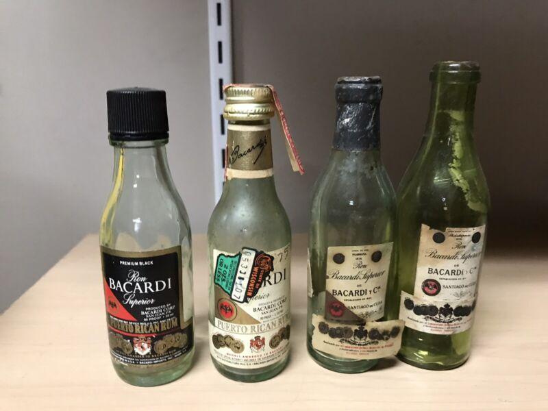 Antique Vintage Bacardi Rum Mini Bottle Lot Superior Puerto Rico Liquor EMPTY