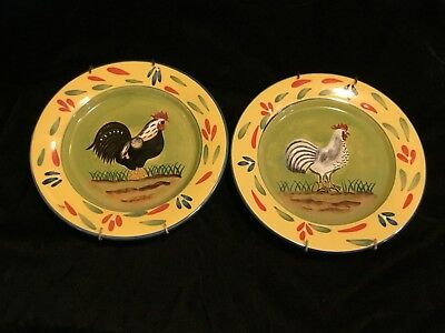 Rooster & Chicken Hen Up Wall Hanging Plates~Style Eyes Baum Brothers Provence