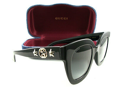 Gucci Sunglasses GG0208S Black Grey 001 New Authentic