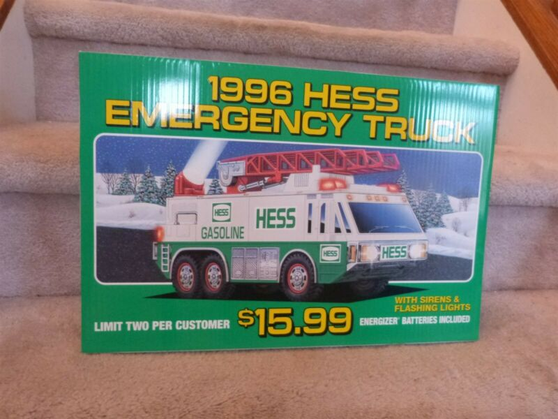 """VINTAGE 1996 Hess Toy EMERGENCY Truck Store Display Pump Topper Sign 18""""x12"""""""