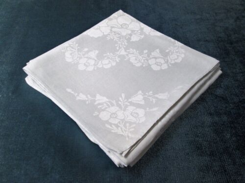 Antique 4 Linen Damask Lapkins Poppies & Morning Glories Hand Hemmed Elegant!