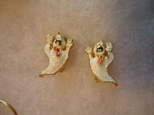 Vintage/nos gold tone enamel glitter Ghost Halloween earrings