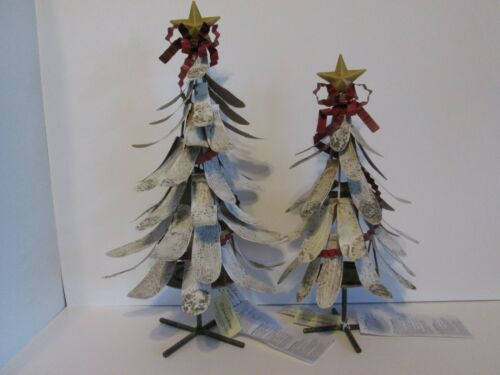 HOME INTERIORS & GIFTS CHRISTMAS TREE CANDLE HOLDER SET WHITE RED BOW
