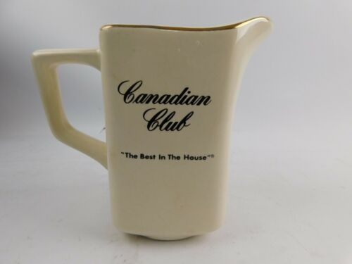 "Canadian Club Ceramic Water Pitcher "" The Best In The House "" 5.5"""