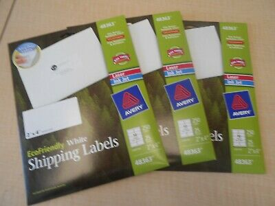 3 Packs Avery White Shipping Labels 2x4 250 X 3 750 Labels 48363