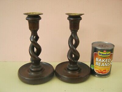 Antique, Vintage Pair of  Oak Barley Open Twist Candlestick FREE POSTAGE