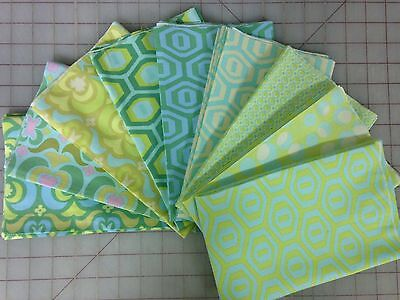 2 Amy Butler Fabric - OOP Amy Butler Midwest Modern 1 & 2 Fabric Fat Quarter Bundle in Blue and Green