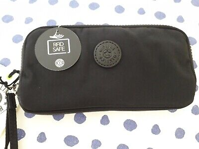 Kipling Zora Purse With Wristlet Rrp £38 RICH BLACK    WITH BUILT  IN  RFID
