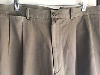 Faconnable 38/48 taupe twill double pleat pants w cuffs 100% cotton IS 29 1/2 Twill Double Pleat Pants
