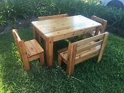 Children's kids wooden timber table and chairs Lismore Lismore Area Preview