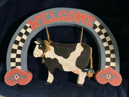 Handcrafted Country Style  Welcome Wooden Cow Sign