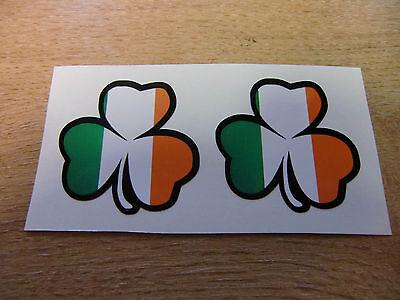 2x irish shamrock sticker decal - 50mm - irish flag colours