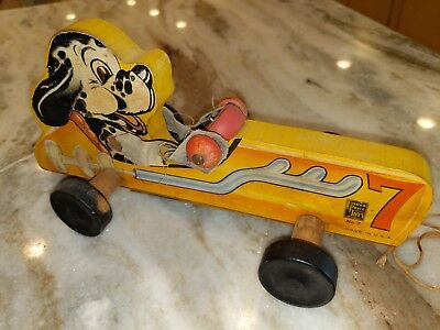 1942 FISHER PRICE WOOD  PUPPY RACE CAR PULL TOY***RARE***NICE CONDITION
