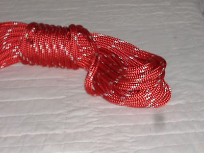 """Double Braid Polyester 3/8""""x 50 feet yacht braid halyard line red white tracers"""