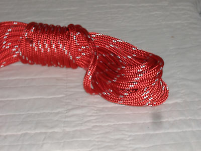 Double Braid Polyester 38x 50 Feet Yacht Braid Halyard Line Red White Tracers