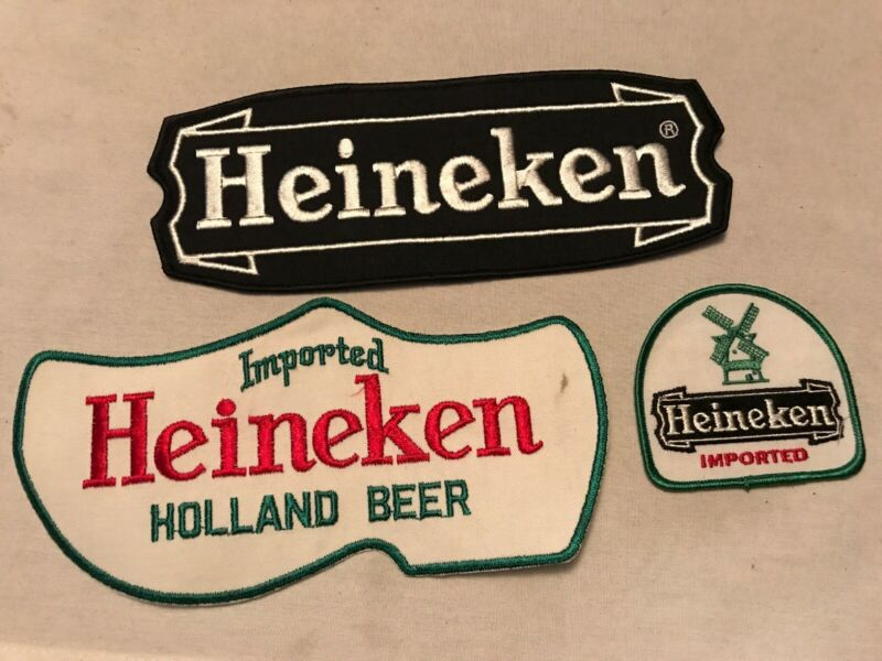 3 Different HEINEKEN Beer Vintage Uniform Patches, Unused