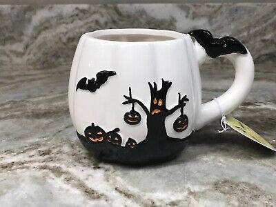 Large Coffee Mug Halloween Bat With Scary Tree. Black And White. New.