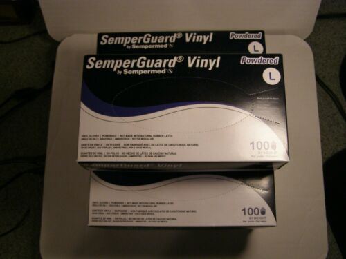 Five boxes of SemperGuard 100 count large powdered vinyl gloves