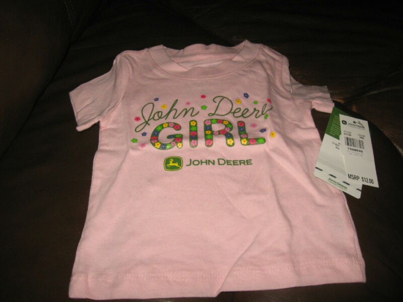 NWT Light Pink John Deere Girl 100% Cotton Short Sleeve T Shirt 18 Months
