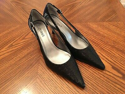 New ELLEN TRACY Echo Black Sequins Med Heel Open Sides Pumps Shoes Size 6.5M