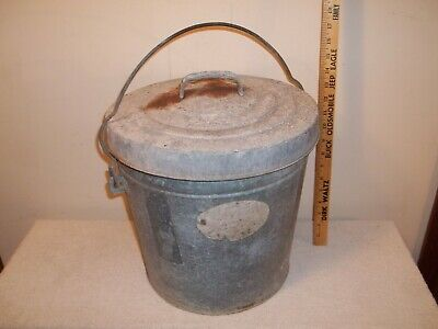 Vtg Galvanized Metal Trash Can Garbage Waste Bin Planter With Carry Handle & Lid, used for sale  Shipping to Ireland