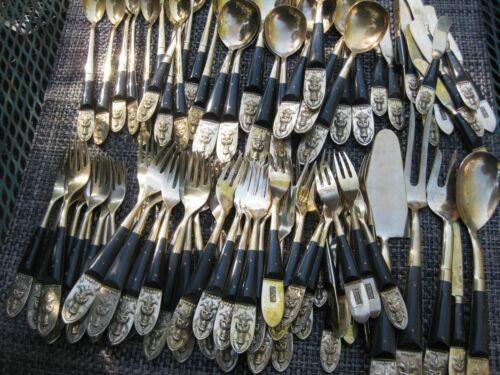 87 Pieces Beng Hwa Vintage Thai/Siam Flatware Table Serving Set Bronze
