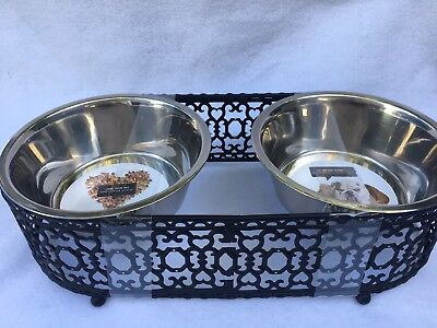 NEW Dog Food Bowls, Pet Food Bowl Set, 2. Cat, Dog, Stainless Steel With Stand