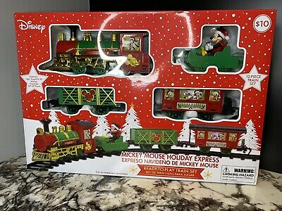 Disney Mickey Mouse Holiday Express 12 Piece Christmas Train Set NEW