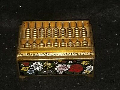 CHINESE BRASS CLOISONNE FLORAL ABACUS TRINKET RING BOX