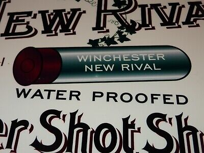 """VINTAGE WINCHESTER NEW RIVAL SHOTGUN SHELLS 12"""" METAL BULLET REPEATING ARMS SIGN"""