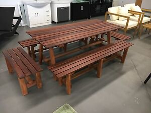 5pc 1800mm Merbeau Wooden outdoor dining table set with stools. Dingley Village Kingston Area Preview