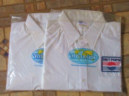 Vtg Riverside Diet Pepsi Cola NEW 2 Uniform White Work Shirts 18 1/2 Half Sleeve