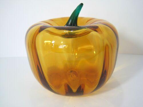 Blenko Handcraft Hand Blown Glass Pumpkin Optic Retro
