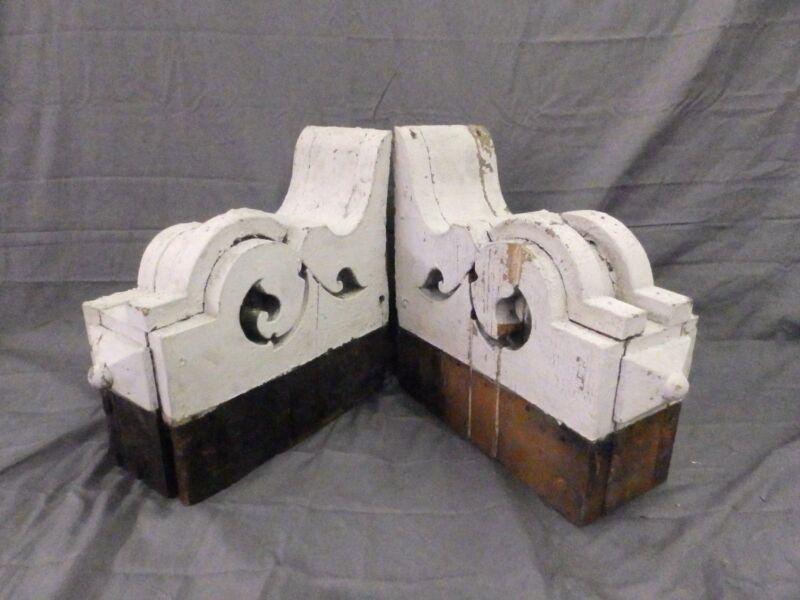 Large Pair Antique Corbels Roof Brackets Victorian Shabby Shelf Vtg Chic 553-17P