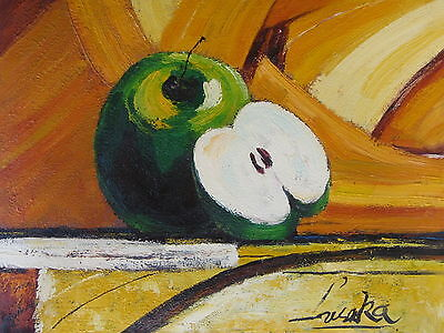 "Contemporary Apples Original Hand Painted 12""x16"" Oil Painting Food Art"