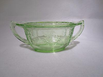 HOCKING GLASS PRINCESS GREEN OVAL 2 HANDLED SUGAR BOWL ( NO LID )