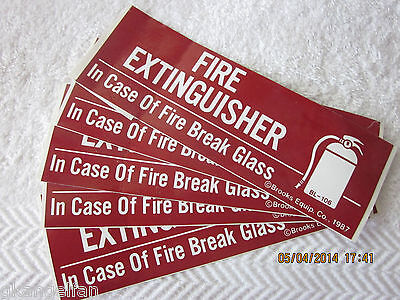 Lot Of 5 Self-adhesive Vinyl Fire Extinguisher Break Glass Signs 2 X 6 New