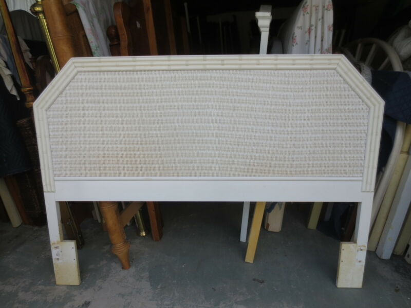 Faux Bamboo Queen Size Headboard White Hollywood Regency Cane Wicker Cottage