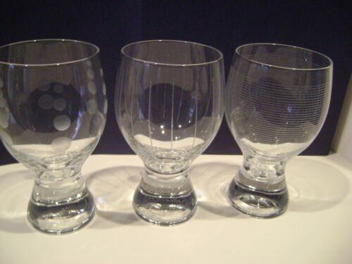 Set/3 Mikasa Cheers Original Pattern Water Glasses Goblets Weighted Bottoms