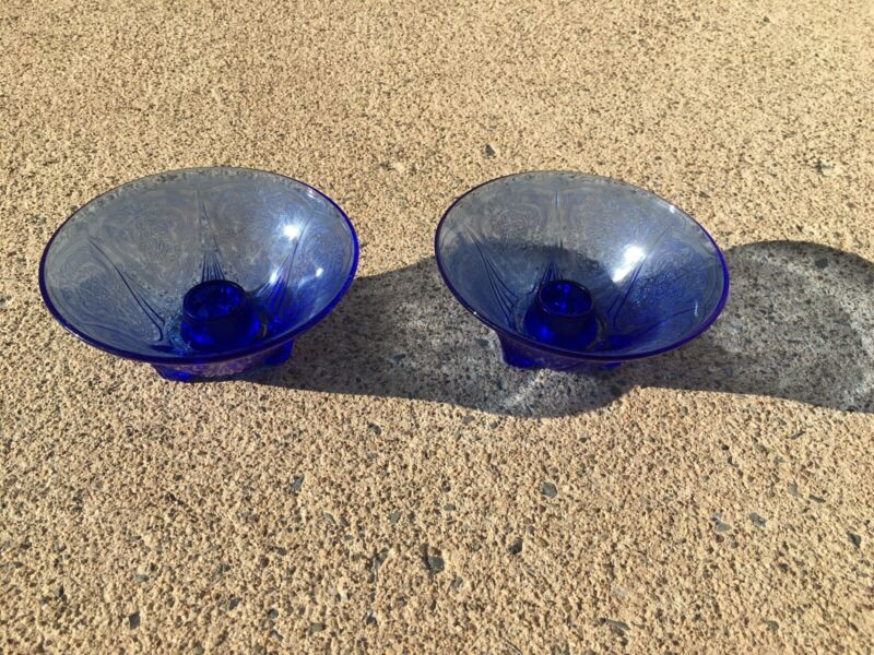 Pair Of Blue Royal Lace Straight Edge Candle Holders
