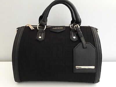 RIVER ISLAND Black Suedette RI Embossed Bowler Bag BNWT