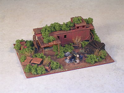 N Scale Railroad Hobo Camp with Rusted Santa Fe Style Caboose, #9