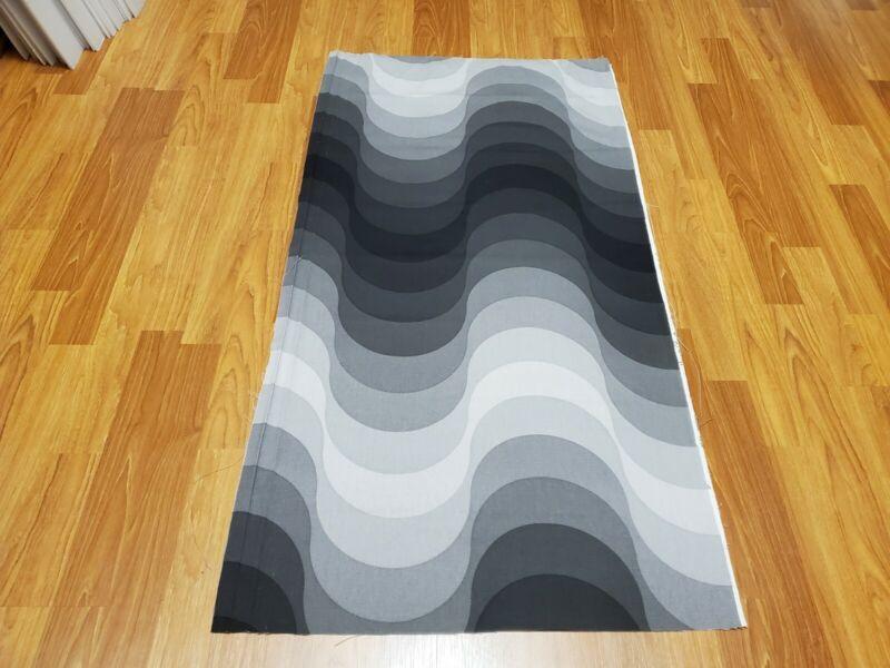 RARE Vintage Mid Century Verner Panton Mira-X shades of grey waves sml fabric!